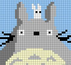 Totoro perler bead pattern - could be used as cross stitch pattern, I'm sure