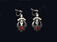 1940s Art deco sterling silver dangle earrings ruby by Oselavy