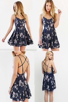 Backless Strap Sexy Party Mini Dress Floral - Lose the floral design and it& perfect… Source by celimophong - Floral Homecoming Dresses, Hoco Dresses, Dresses For Teens, Flower Dresses, Pretty Dresses, Casual Dresses, Summer Dresses, Cute Summer Outfits, Cool Outfits