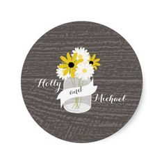 Barnwood   Mason Jar Wildflowers Wedding Sticker
