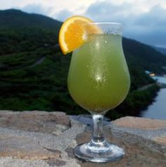 Caribbean Sea Drink Recipe~Lennox, Biras Creek Resort's bartender, created this fruity tropical drink to reflect the beautiful waters that surround the Caribbean islands.