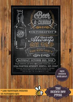 Oktoberfest Invitation  Chalkboard Beer by TheHoneyBeePress