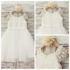 Ball Gown Knee-length Flower Girl Dress - Lace / Tulle Short Sleeve – USD $ 59.99