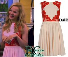 """Dove (as Liv) wears this dress in Liv & Maddie """"BFF-A-Rooney"""" Ted Baker Vember Lace Detail Color Block Dress Only available ..."""