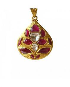 Kundan Meena Jadau Real Ruby Polki Diamond Flower Drop Pendant in 22K Gold For Wedding / Engagement by TraditionalJewels on Etsy