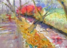 contemporary watercolour impressionist painting red green gold purple abstract wall art home decor special gift limited edition giclee print Watercolor Landscape, Watercolor Print, Abstract Landscape, Watercolor Paper, Original Paintings, Original Art, Green And Gold, Red Green, Impressionist Paintings