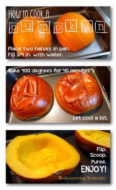 How to Cook a Pumpkin: Easy oven method. Hundreds of possibilities! Pumpkin Stew, Roast Pumpkin, Baked Pumpkin, Pumpkin Spice, Pumpkin Cookies, Fresh Pumpkin Recipes, Homemade Pumpkin Puree, Thanksgiving Recipes, Fall Recipes