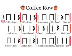 "Could maybe use this with Orff ""Coffee"" lesson Grade 5 Music Lesson Plans, Music Lessons, Fun Songs, Music Songs, Music Games, American Folk Music, Reading Music, Music Classroom, Classroom Ideas"