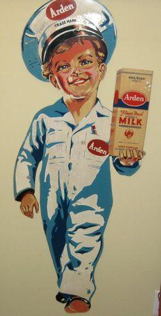 "1950's ""Arden Boy"" Arden Farms Milk Advertising Sign   eBay"