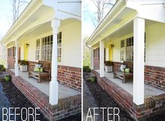 Updating front porch posts can be a DIY project if you have intermediate skills. John and Sherry of Young House Love updated their colonial-style wood porch posts into more chunky square porch posts. Now their front porch columns match their carport and the rest of their mid-century ranch homes in their neighborhood. If you are remodeling a ranch home, then you may want to begin with your front porch.