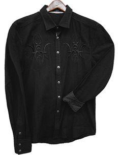 Toku Clothing Black Embroidered Shirt