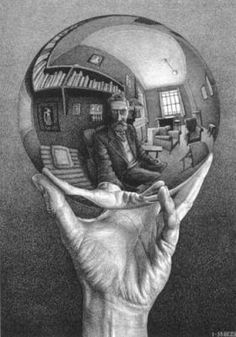 """M.C. Escher, """"Hand With Reflecting Sphere"""" (lithograph print)."""
