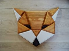 wooden fox wall decor by POLIGON on Etsy