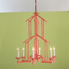 Bamboo Tower Chandelier - 6 Light (6 colors)  -Light Fixture for Sitting Room