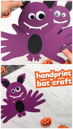 This handprint bat craft is a fun Halloween craft for kids that's easy to make. It works great for preschool, kindergarten and elementary students. It comes with a free printable template to make it even easier! #simpleeverydaymom #handprintcrafts #craftsforkids #kidscrafts #halloween #halloweencraftsforkids #halloweenforkids #kidsactivities #kidsandparenting #holidayswithkids #preschool #kindergarten #elementary #preschoolers #preschoolcrafts #prek #teachingkindergarten