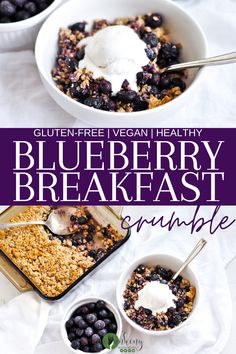 This Healthy Blueberry Breakfast Crumble is a gluten-free breakfast that's healthy and delicious. I've created this recipe to be an easy blueberry crumble with under 10 ingredients and with using frozen blueberries you'll be able to enjoy it year-round! Dairy Free Breakfasts, Gluten Free Recipes For Breakfast, Healthy Breakfast Recipes, Clean Eating Recipes, Brunch Recipes, Healthy Recipes, Breakfast Ideas, Vegetarian Breakfast, Blueberry Crumble