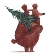happy bear with christmas tree - Christine Pym #illustration