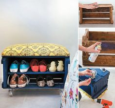 Wooden Pallet Furniture 27 Cheap Pallet Furniture Ideas including this Pallet Shoe Rack - Looking for DIY Pallet Furniture Ideas? This collection of 27 creative, and amazing looking pallet projects are sure to get your juices flowing. Wooden Crate Furniture, Diy Wooden Crate, Diy Pallet Furniture, Wooden Crates, Furniture Design, Furniture Ideas, Pallet Stool, System Furniture, Milk Crates