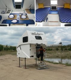 Modern truck camper, diggin the pop up top!