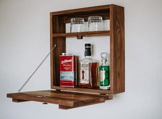 Small Liquor Cabinet, Pallet Projects, Woodworking Projects, Corner Bar Cabinet, Murphy Bar, Wall Mounted Bar, Wine Caddy, Hanging Bar, Door Trims