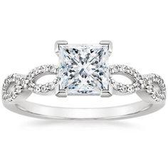 Princess Cut Infinity Diamond Engagement Ring - 18K White Gold