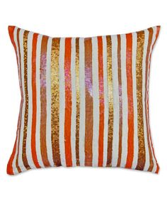 Orange & White Stripe Sequin Throw Pillow #zulilyfinds #zulily [I like the colors, not the sequins]