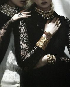 Black lace, gold jewelry. Done.