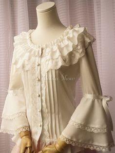 White Chiffon Lolita Blouse Long Hime Sleeves Lace Trim Round Ruffles Collar - Lolitashow.com