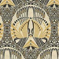 Art Deco Art Nouveau Yellow Black And White Flat-Weave Curtain and Upholstery Fabric | Backhausen Art Deco Professor Jungnickel from Loome Fabrics