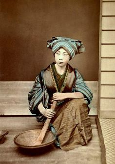 It hand-tinted albumen print was taken in the 1880s by a relatively obscure but active photographer named YAMAMOTO.