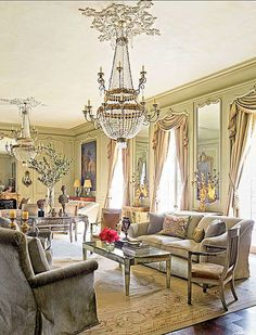 [Blog with Design Tips] Aubusson Rugs Bring Glory to Renovated Houston Chateau. Interior design by Kara Childress.