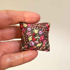 Dollhouse miniature pillow. Hand embroidery.