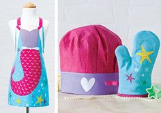 Chef Set for Kids - Apron, Chef Hat, Oven Mitt, Cookie Cutter (Stella Mermaid)