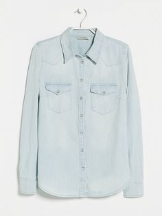 The perfect light-washed denim shirt for a denim pair of pants. // Bleached Wash Denim Shirt by Mango