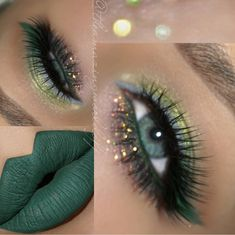 42 MAGIC SHADOWS OF LIP RED Green lipstick is one of the hottest trends this year. This magical make-up product can change a person's mood. In recent years, women have abandoned . Make up Green Lipstick, Green Eyeshadow, Makeup For Green Eyes, Lipstick Shades, Eyeshadow Makeup, Eyeliner, Eyeshadows, Glitter Makeup, Make Up Color