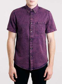 Purple Acid Wash Denim Short Sleeve Shirt