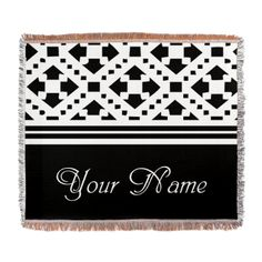 Elegant Custom Name Woven Blanket