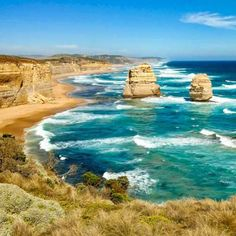 A classic shot of the twelve apostles in Australia. These are the two on the left of the point.