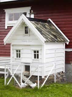 adorable chicken coop... check out the stone foundation.... and those cute shingles and trim work