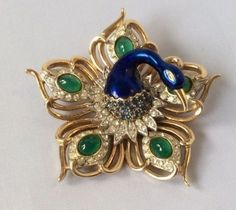 Rare Vintage Boucher Blue Peacock Star Brooch Green Cabochon Signed Numbered