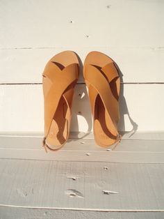 Sandals Handmade Leather Ancient Greek Natural color Women's