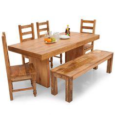 Jordan-Dama 6 Seater Dining Table Set(With Bench) - Natural