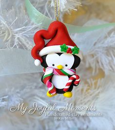 Handcrafted Polymer Clay Penguin Ornament by MyJoyfulMoments Crea Fimo, Fimo Clay, Polymer Clay Projects, Polymer Clay Creations, Polymer Clay Ornaments, Polymer Clay Charms, Fimo Kawaii, Penguin Ornaments, Polymer Clay Christmas