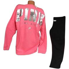 Pre-owned Victorias Secret Pink Lset Varsity Crew Coral Pullover Foil... ($118) ❤ liked on Polyvore featuring tops, t-shirts, pink, coral t shirt, graphic tees, sweater pullover, crew t shirt y graphic t shirts
