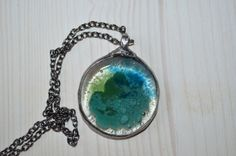 fused glass pendant handmade pendant green necklace blue necklace handmade jewelry rustic jewlery old silver tin statement necklace