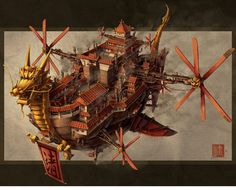 Chinese. Steampunk.    Imperial Airship Chinese Steampunk Print by by JeffersonTrader