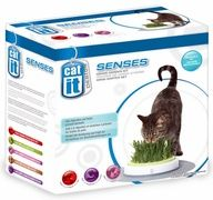 The Catit Senses Grass Garden Kit gives you the means to grow a controlled amount of grass indoors for your cat to nibble on. The grass grown in the Grass Garden offers a natural source of fiber, which aids in digestion and prevents hairball build-up. This is an ideal solution for brining the nutritional benefits of the outdoors to indoor cats. The surrounding accu-pressure mat provides pressure point paw massage while your cat feasts.