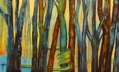 Forest painting CANVAS PRINT 22x36 Art LandscapeTree Lake Woods Snake Lucifer Picture Wall art Blue yellow Oil Artwork. Lucifer as snake in the woods - a whimsical painting on canvas - A decorative, high quality wall decoration - GICLEE PRINT ON CANVAS from the original expressionist oil painting depicting a whimsical forest and a snake. Visible brush strokes, vivid bright colors! Beautiful, decorative artwork for your living room. CANVAS SIZE: 22 x 36 inch / 55 x 90 cm. SUPPORT: new…