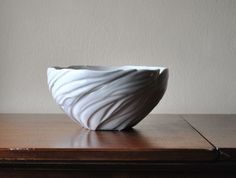 Snowy Winter White Organic Carved Porcelain Contemporary Centerpiece Bowl