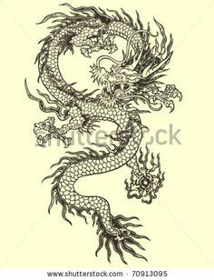 Dragon Tattoo Illustration by Tairy Greene, via Shutterstock vector format